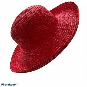 SCALA red straw sun beach garden Easter hat